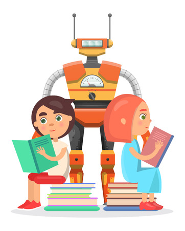 cybernetics: Boy and Girl Read with Big Robot Illustration