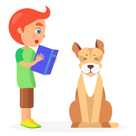 Red-haired Boy Reads Book to Jack Russell Terrier