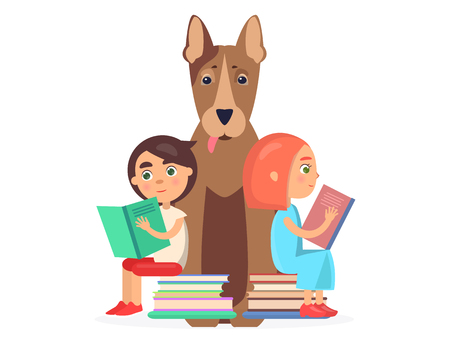 Girl and Boy Sits on Two Pile of Books with Dog Illustration