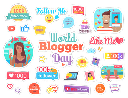 World Blogger Day with 100 Followers on White