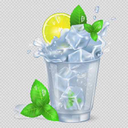 Faceted Glass of Mojito with Ice Illustration Çizim