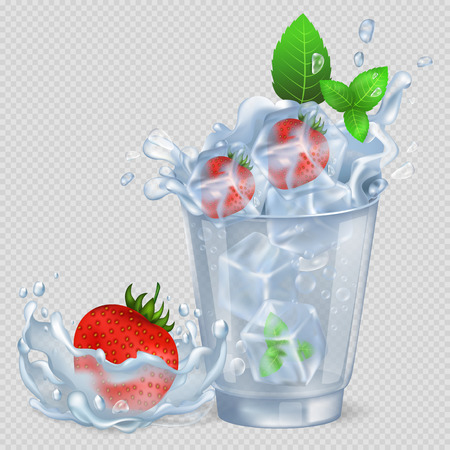 Frozen Strawberry and Mint in Glass with Water Illustration