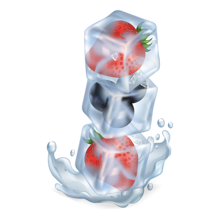 Ice cubes with strawberry and blueberry