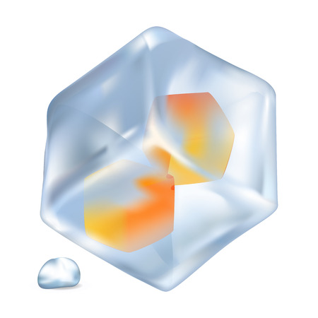 Glossy ice with orange cubes inside