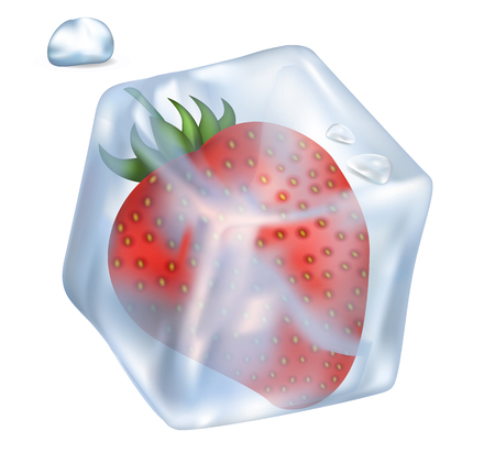 Frozen tasty red strawberry in an ice cube
