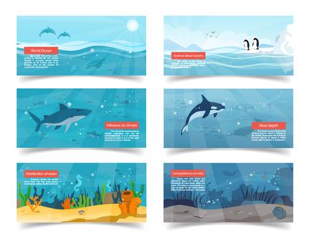 Wereld oceaan vectorillustraties met wetenschappelijke informatie en foto's van bodem, oppervlakte, witte haai, orka en pinguïns van Antarctica.