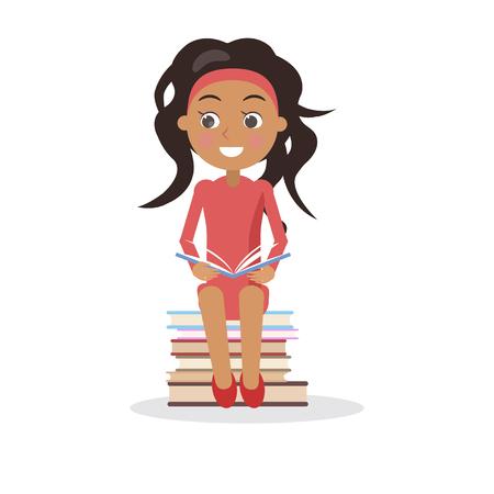 本国際識字デー白で隔離の概念ベクトル イラストの山の上に座っているオープン教科書とドレスのブルネットの少女  イラスト・ベクター素材