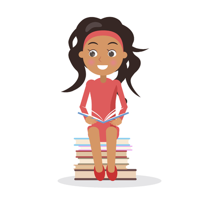 Brunette young girl in dress with open textbook sits on pile of books vector illustration in concept of International Literacy Day isolated on white