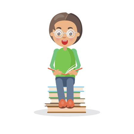 De opgewekte jongen in glazen zit op hoop van boeken, zelf onderwijs en het krijgen van kennisconcept. Leerling interessante enciclopedia vector illustratie bestuderen