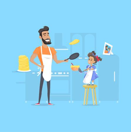 Hilarious vader en dochter die pannenkoeken voorbereidt Stock Illustratie