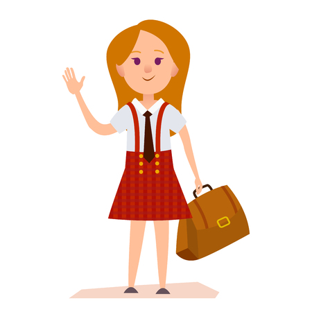 Young Girl in School Uniform With Bag Illustration Illustration