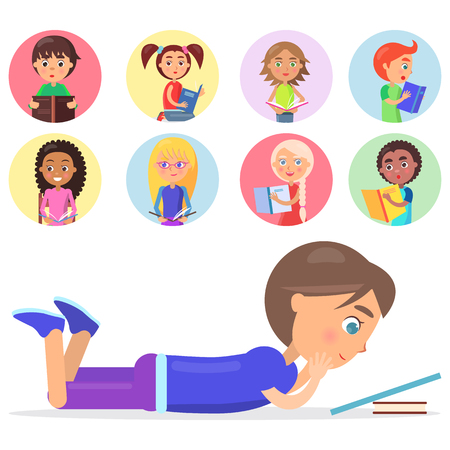 Brunette boy lying on floor and reading blue book, smart kids with color literature on small icons vector illustration isolated on white background.