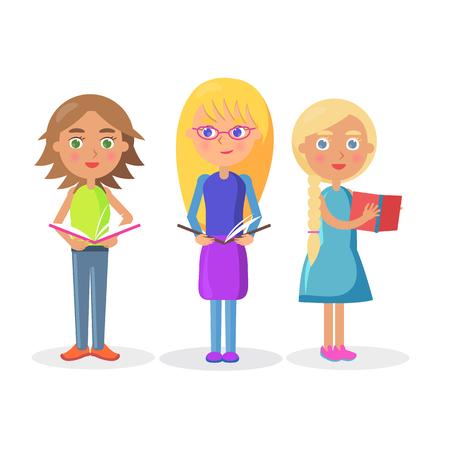 Three Cute Girls Holding Open Textbooks on White Illustration