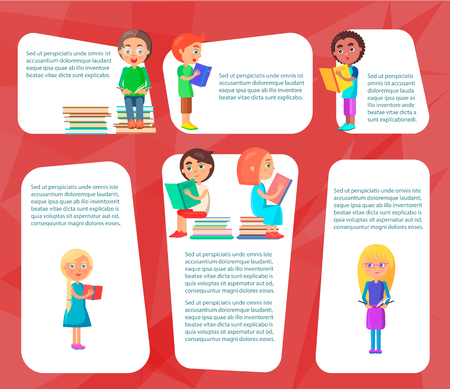 Reading children sitting on heap of literature and standing with colored textbooks vector illustration on red background. Illustration