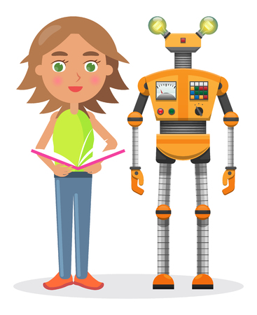 Little girl with open book and orange iron robot with lamp-eyes and colorful buttons isolated vector illustration on white background.