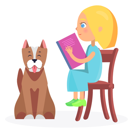 Girl Sitting on Wooden Chair with Book and Pet Illustration