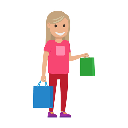 Blond Girl with Bags Illustration. Shopping Time Illustration