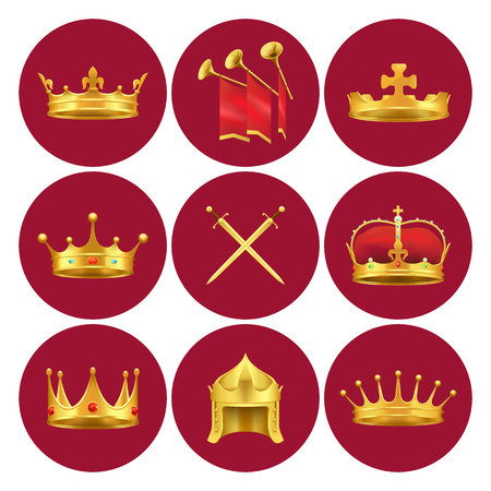 Golden kings crowns from different Medieval States Иллюстрация