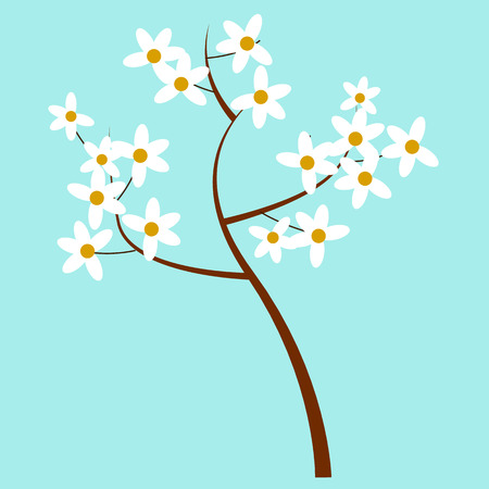 Cartoon Spring Blooming Tree Isolated Illustration