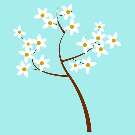 Ilustración aislada del árbol floreciente de la primavera de la historieta