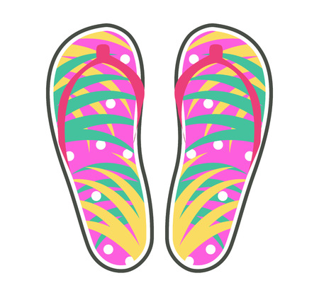 Pair of colorful flip-flops icon