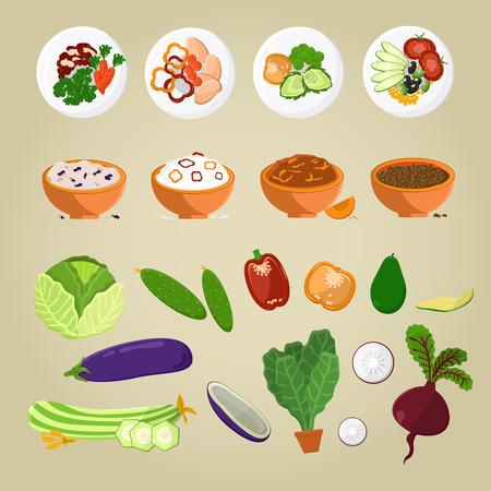 Vegetarisches Lebensmittel und Gerichte vom Gemüsekonzept Standard-Bild - 86788507