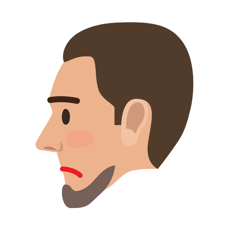 Sad Man Face in Profile View Flat Vector Icon Illustration