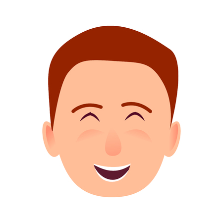 若い男は笑みを浮かべて顔フラット ベクトル アイコン 写真素材 - 86788510