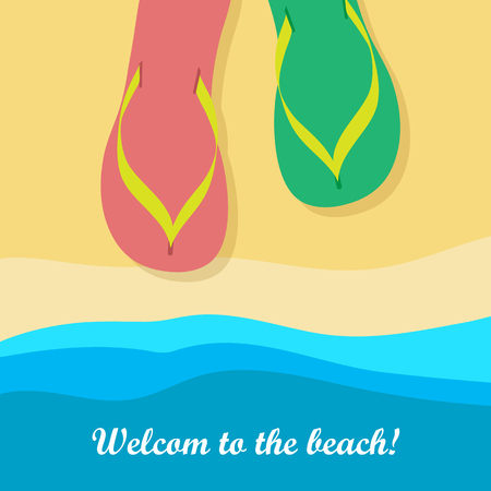 Welcome to Beach. Pair of Colorful Flip Flops