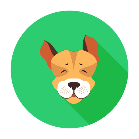 Happy muzzle of Jack Russell Terrier flat icon Illustration