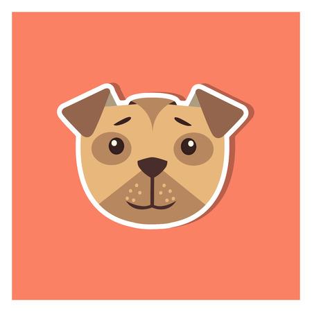 Head of boxer dog cartoon icon