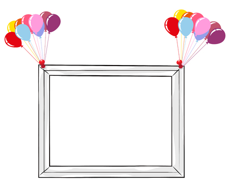Black and white frame with colorful balloons isolated