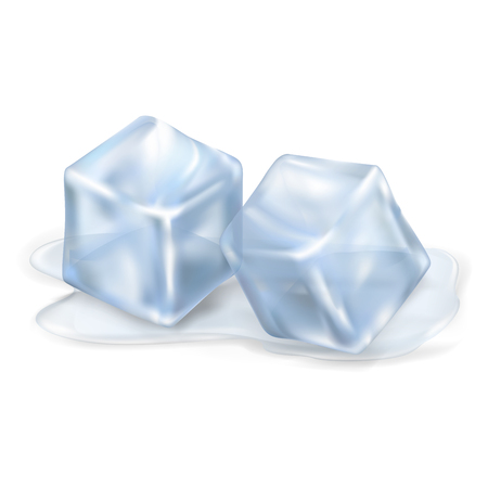 Two cool and shiny ice cubes lying in small amount of melted water isolated on white background vector illustration.