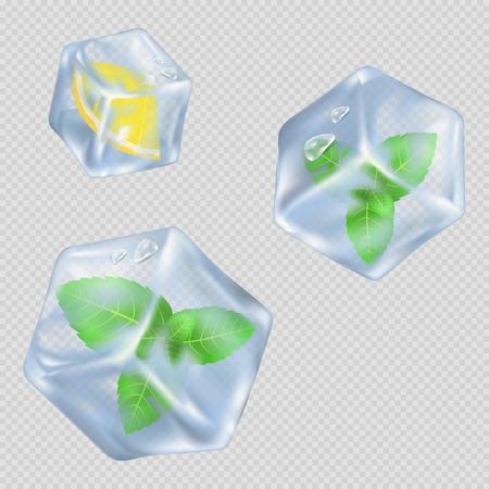 ミントの葉とレモンのイラストでアイス キューブ