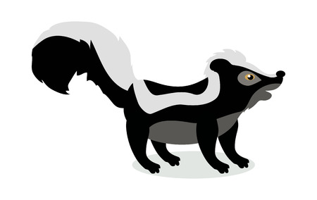 Skunk Cartoon Vector Illustration in Flat Design