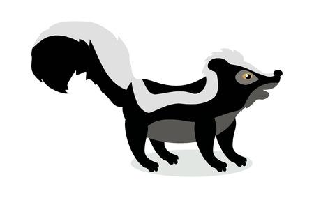 Skunk Cartoon Vector Illustration in Flat Design
