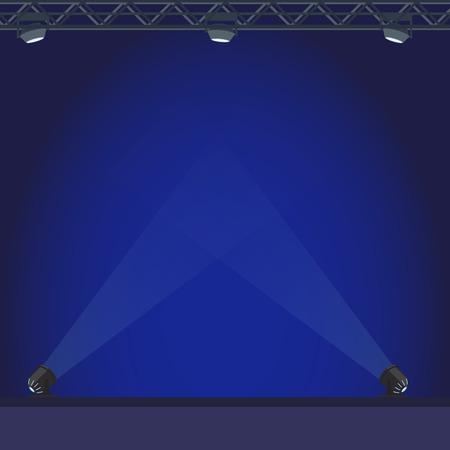 Leeg stadium met blauwe verlichtingsillustratie Stock Illustratie