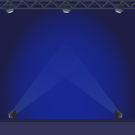Empty Stage with Blue Lightening Illustration