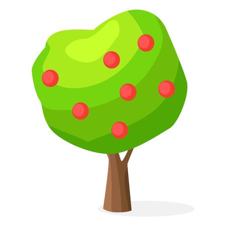 Weelderige groene appelboom met rode ronde vruchten