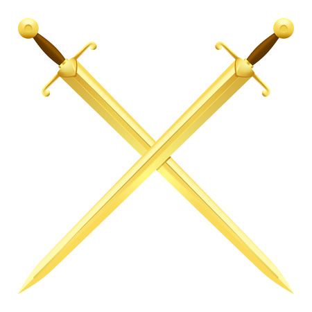 Two Crossed Swords of Gold on White Background 일러스트