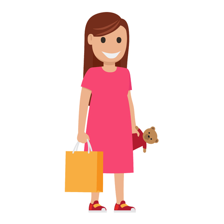 Woman stands and holds bag and toy-bear on white background. Family shopping day. Cartoon mother has fun during shopping at mall. Shopping-themed isolated vector illustration of female character.