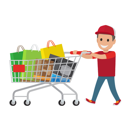 Kid making holiday purchases. Pleased boy in cap walking with bought goods in shopping trolley flat vector isolated on white. Happy child customer illustration for shopping and sale concepts