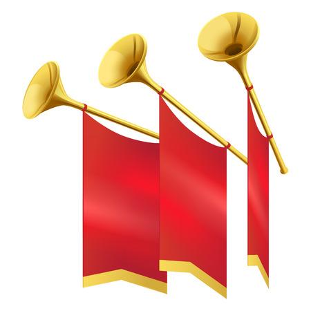 Tres trompeta musical de oro decora banderas rojas Foto de archivo - 86688068