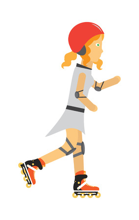 Roller skater vector. Female character in helmet, elbow, knee protection on rollers. Sports equipment flat illustration. For sport concepts, advertising, web design. Ilustracja