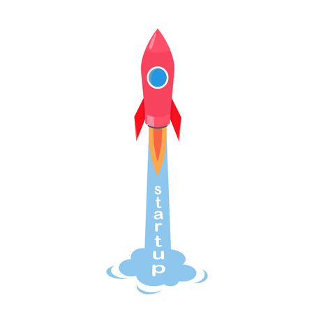 Startup of rocket vector illustration isolated on white. Start of creative project sign in flat design, rocketship going to fly into space