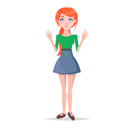 Scared Young Woman Cartoon Flat Vector Character
