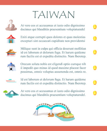 Taiwan Brochure with Information and Sightseeings Illustration