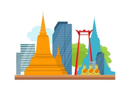 Bangkok Detailed Banner. Symbols of Thailand.