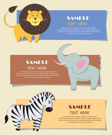 Three African Wild Animals Nursery Color Cards Ilustrace