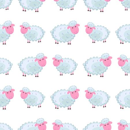 かわいい羊の漫画フラットベクトルステッカーまたはアイコン  イラスト・ベクター素材